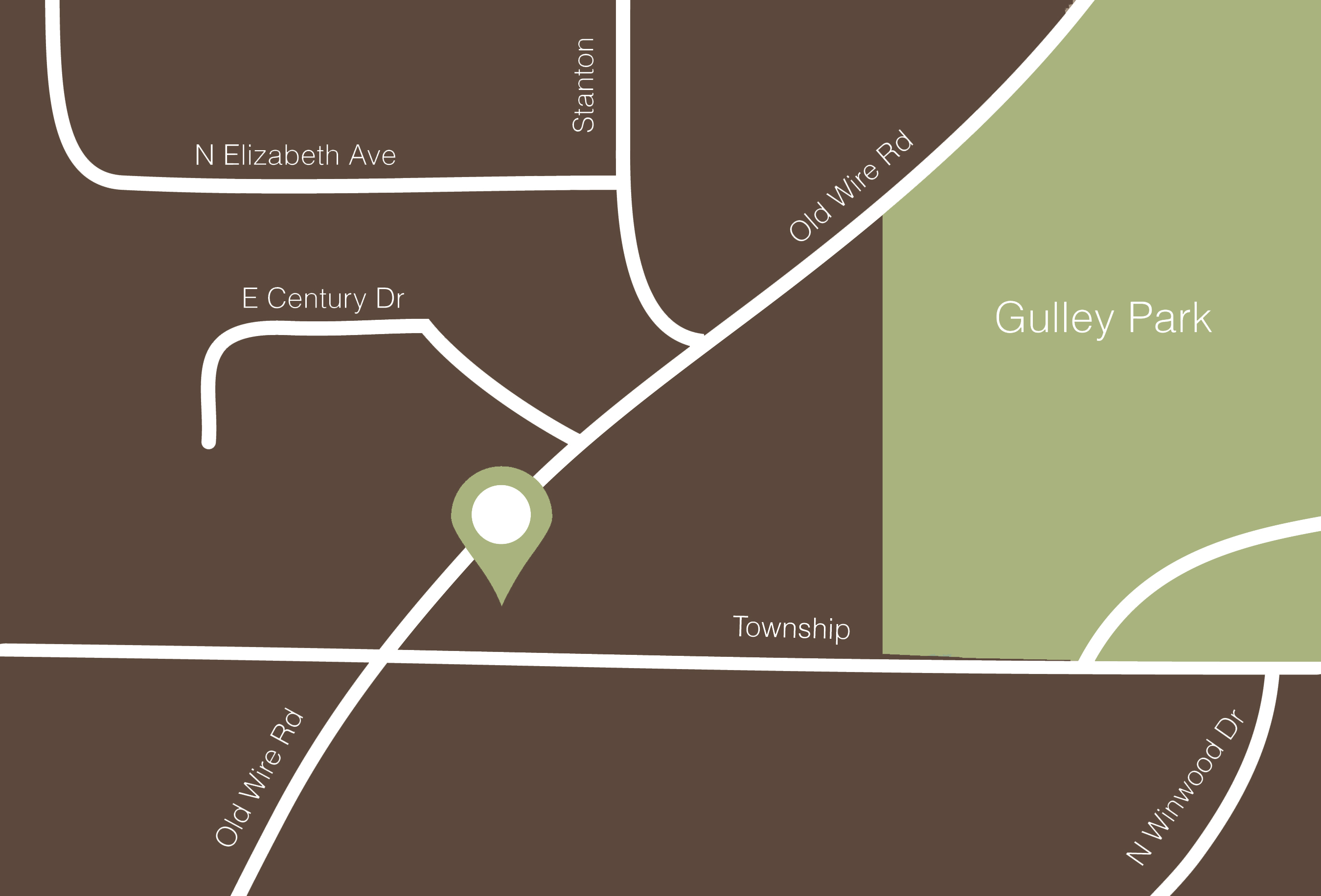 Map to Gulley Park Pets Clinic